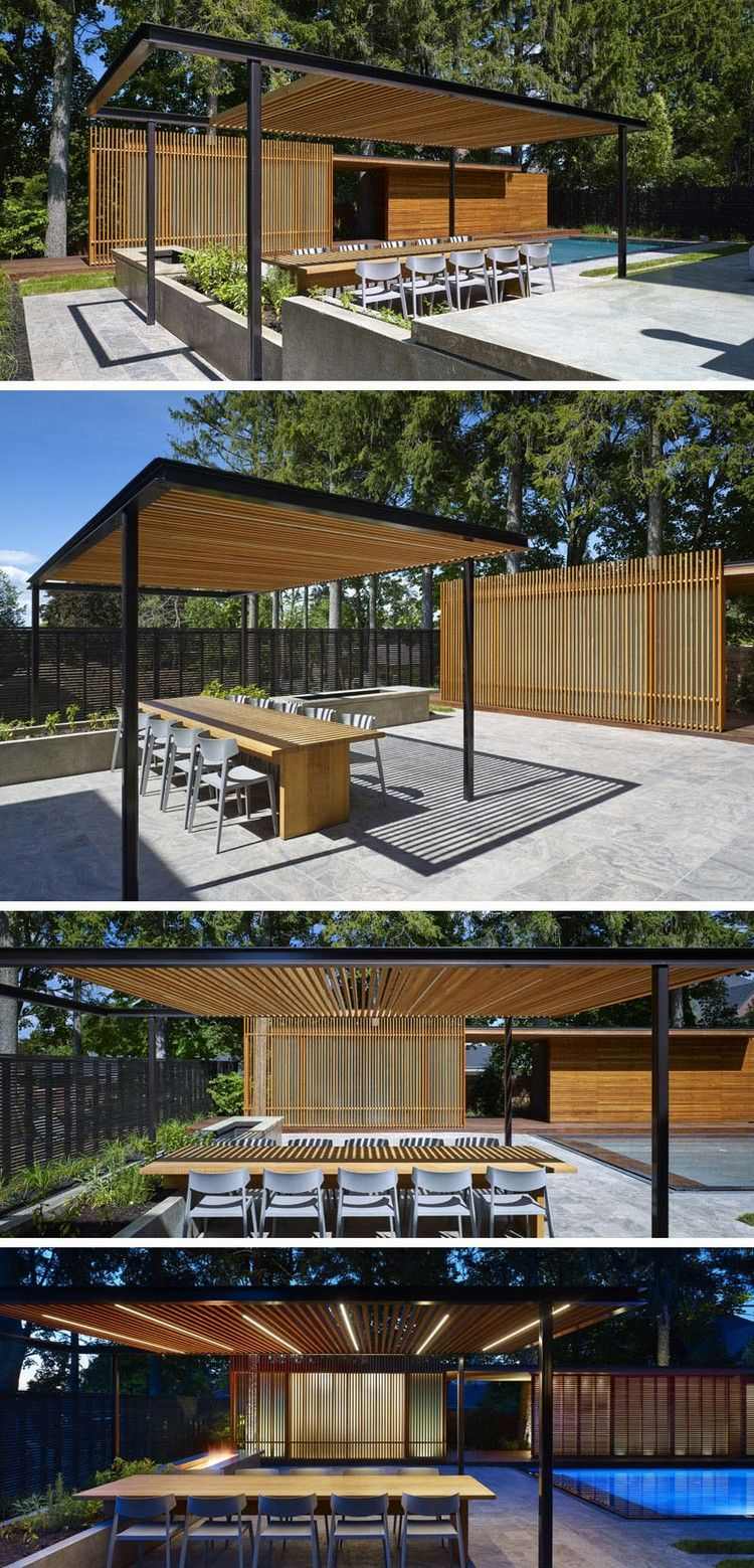 pergola aus holz und stahl f r eine poolterrasse mit outdoor k che handler poolterrasse. Black Bedroom Furniture Sets. Home Design Ideas