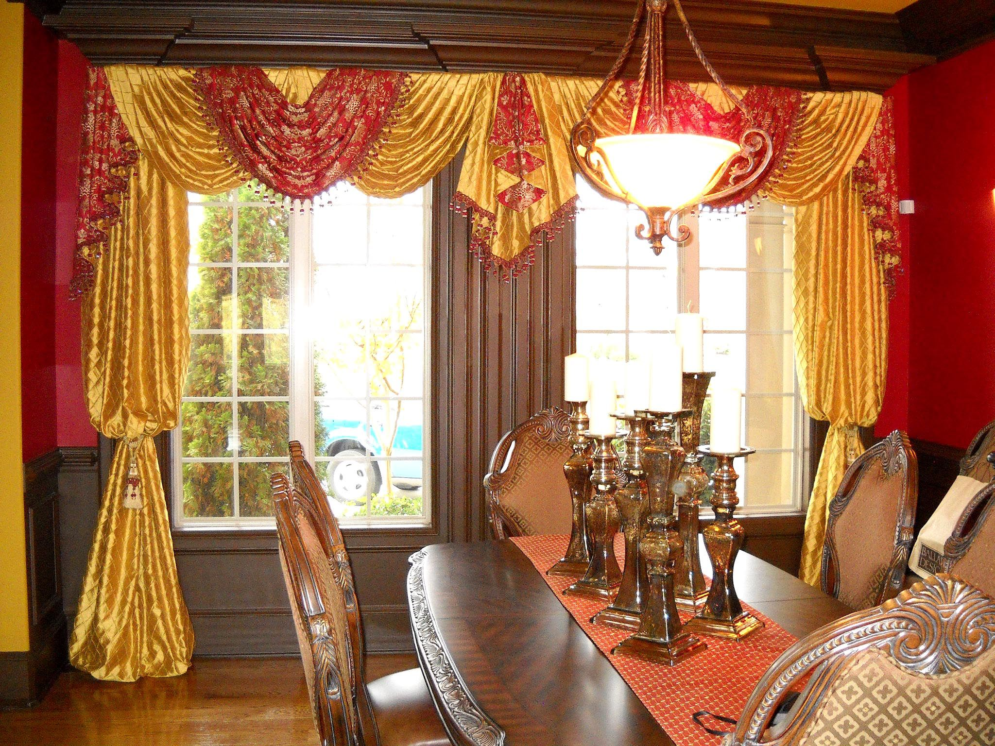 Windowtreatments Formal Dining Room With Red Gold Swags And Bishop Sleeves Www Lady Charming Dining Room Dining Room Window Treatments Formal Dining Room