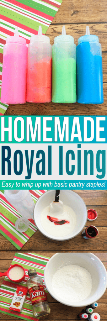 Learn how to make icing with this easy recipe for Royal Icing. Great to use with our sugar cookie recipe. Find all the ingredients to make both in your pantry! #easyroyalicingrecipe