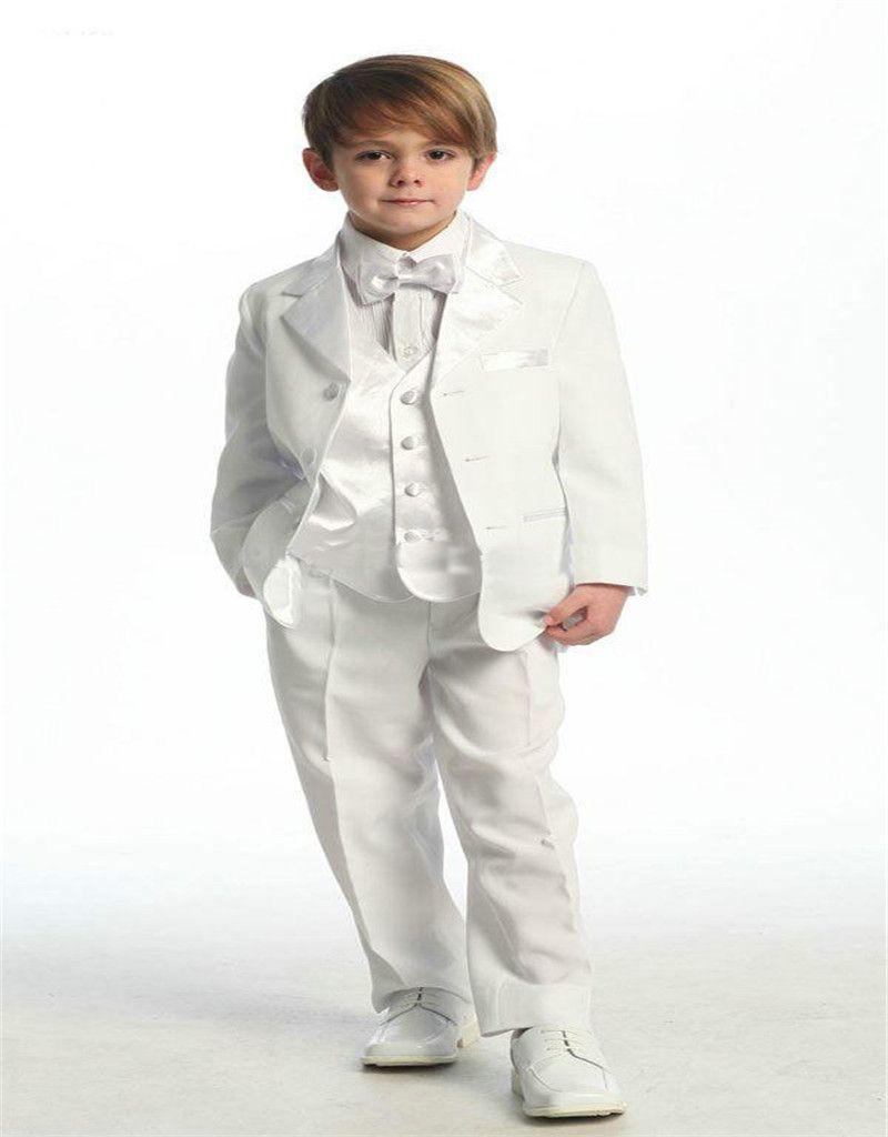 Nueva boda novios traje de niño chico blanco mantón de la solapa del  esmoquin chicos para hombre trajes padrinos de boda slim fit de dos botones  de dos ... 3ee309f98ca
