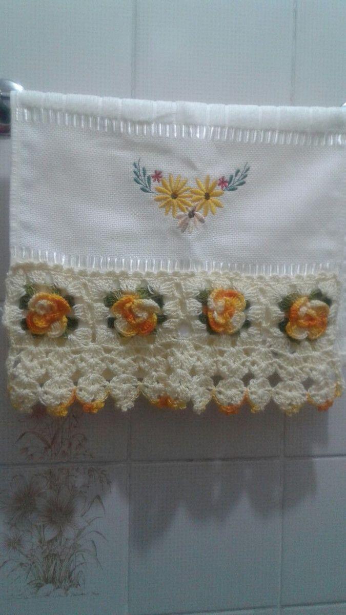 Tolha Lavabo Com Barrado Croche Com Imagens Toalhas De Banho E