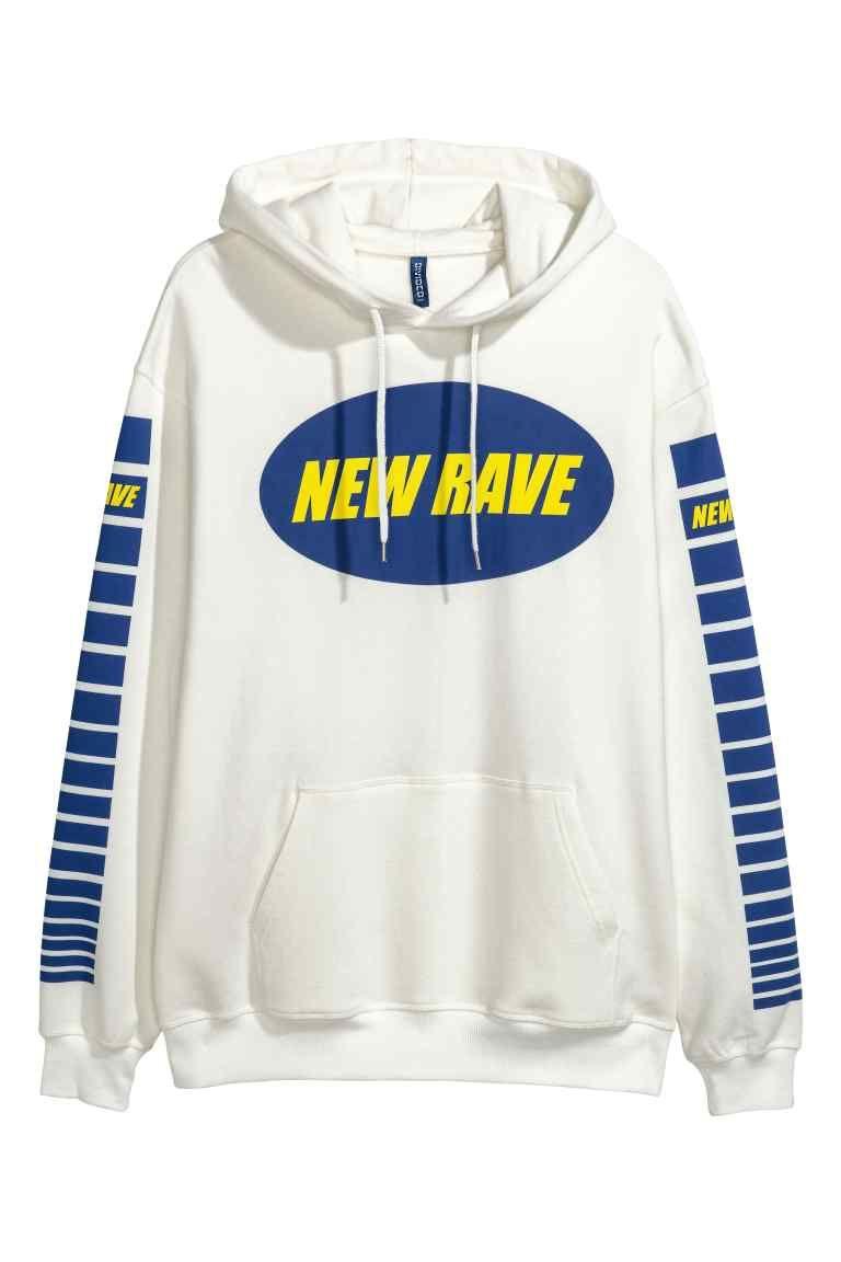 Capuchonsweater met print - Wit/New Rave - HEREN | H&M NL