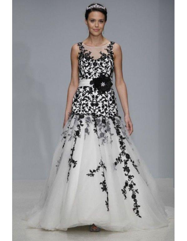 Cheap Wedding Dresses Black White 600x771