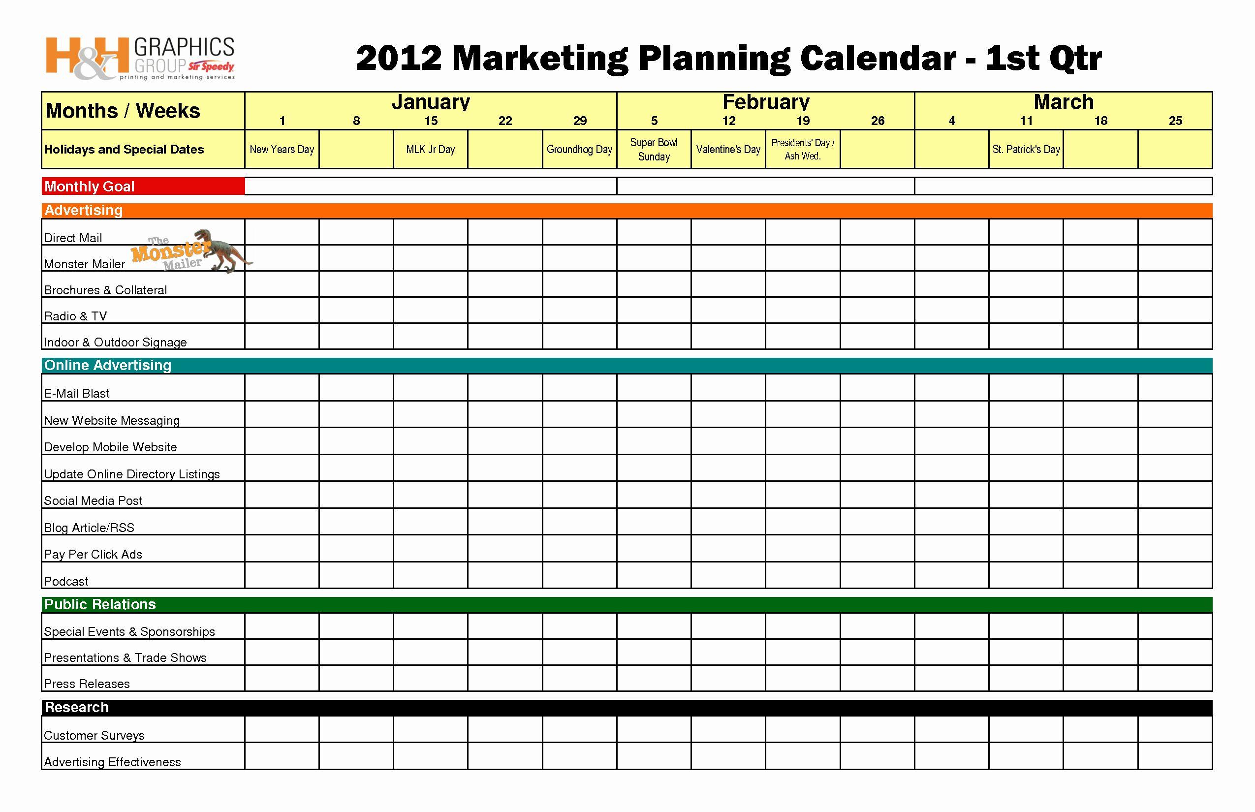 Event Marketing Plan Template Best Of Quarterly Marketing Plan Bing Images Marketing Calendar Template Marketing Plan Template Marketing Planning Calendar