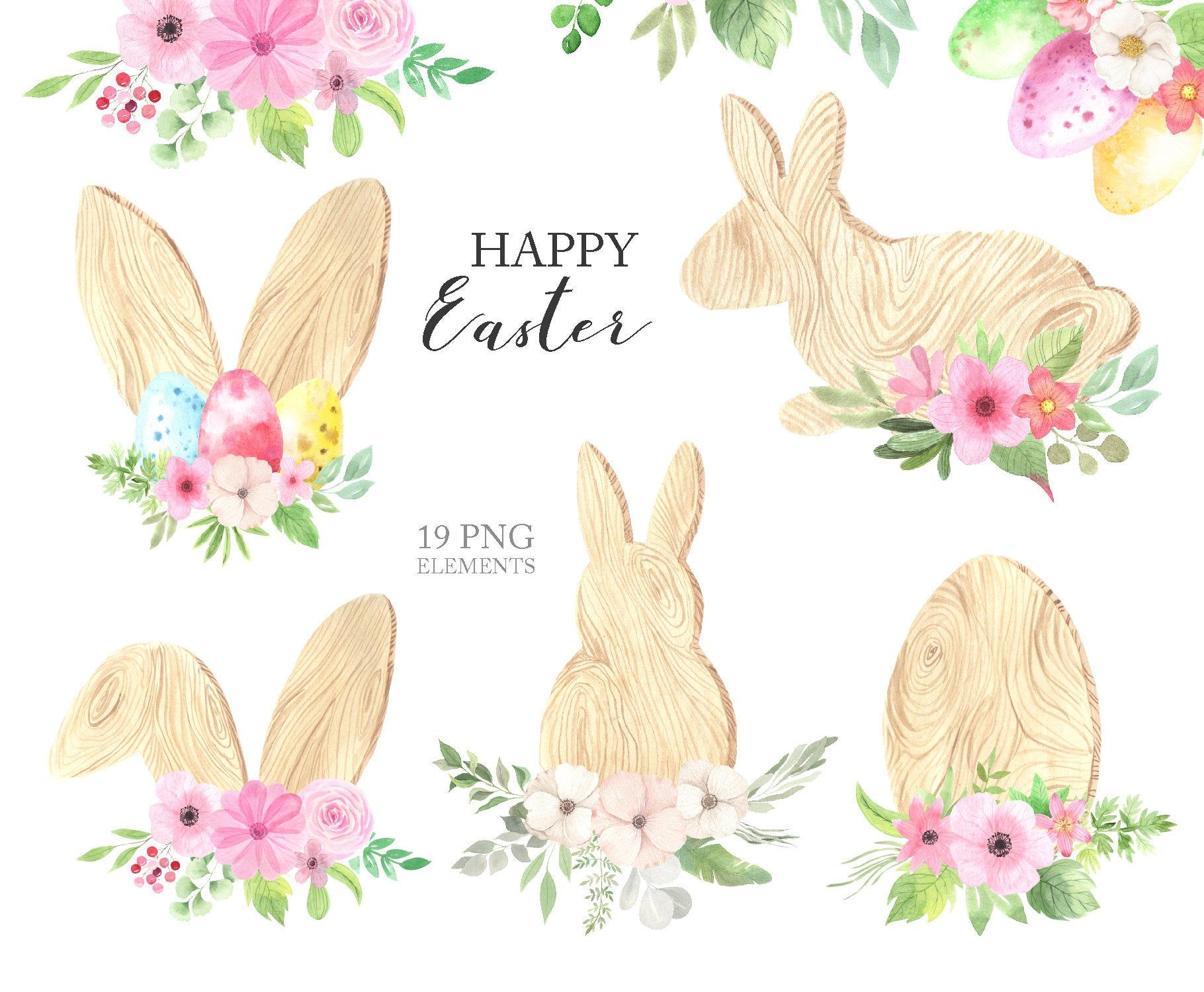 Watercolor Easter Bunny Ears Clipart Spring Holiday Wooden Etsy Easter Bunny Ears Easter Floral Wreath Drawing
