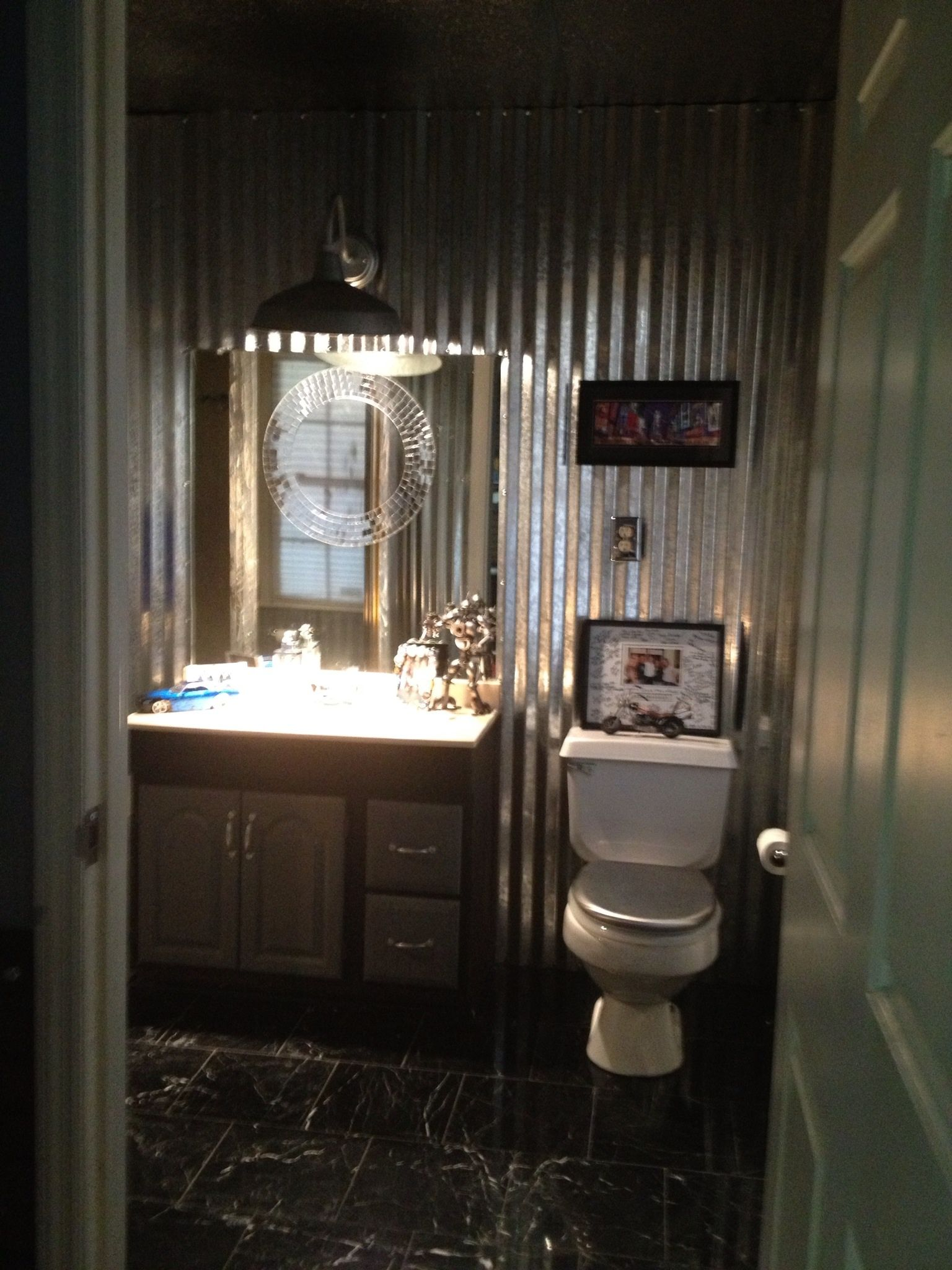 Corrugated Metal Interior Design Metal Bathroom Off Game Room For The Home Pinterest Game