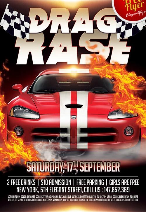 Download the Drag Race Free Flyer Template for Photoshop - Free - free sports flyer templates