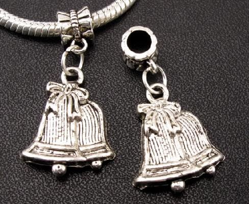 4pc Tibetan Silver Christmas Silver Bells w/Bow Spacer Bead/Charm Fits European Bracelet Free S/H
