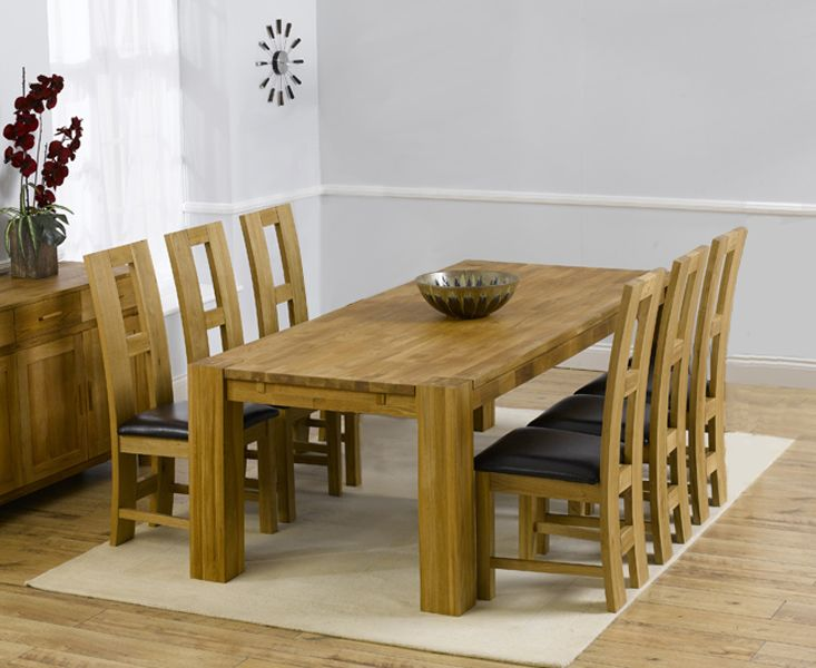 Madrid Solid Oak Dining Table 200cm With 6 Brown Louis Chairs