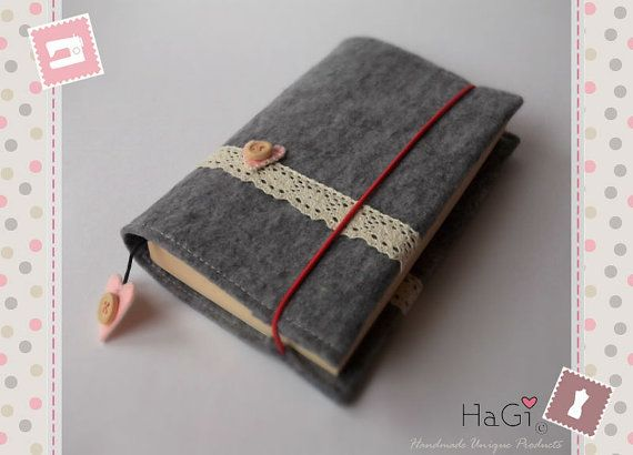 Handmade Felt Book Cover : Cute and practical felt book cover romance by