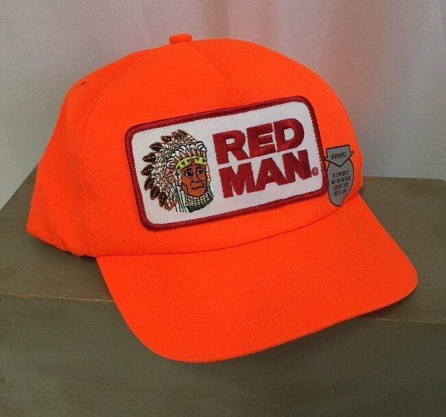 a3d8ac0811f Vintage Red Man SnapBack Trucker Hat Cap Orange Chewing Tobacco Made USA   RedMan  TruckerHat