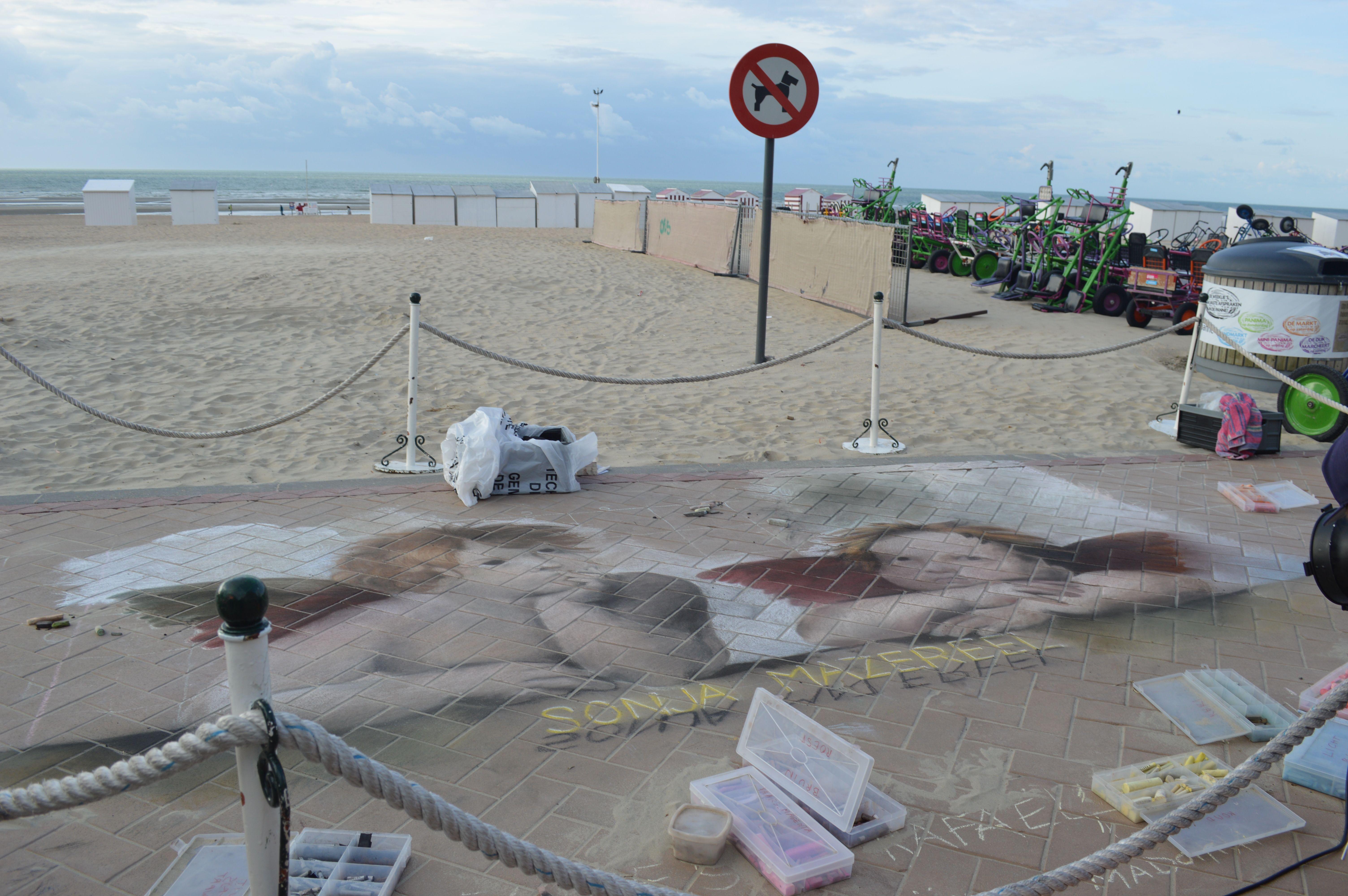 krijttekening naar Rafaël chalk pastel streetart