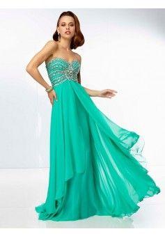 A-line Strapless Sleeveless Chiffon Hunter Prom Dresses With Beaded #FJ121