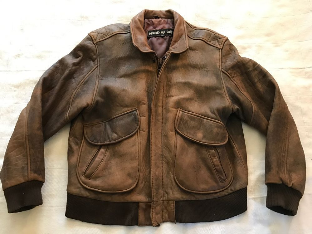 d6fef584c Details about MEN'S AVIATOR A-2 FLIGHT DISTRESSED BROWN REAL BOMBER ...