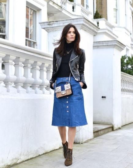 16 Fresh Ways to Wear a Denim Skirt | Leather jeans, Blue skirt ...
