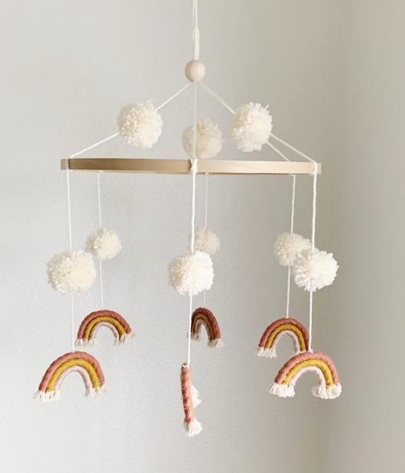 Photo of C H L O E | Rainbow Macrame Pom Pom Mobile Nursery Hanging Decor #makkari C H L … – Modern