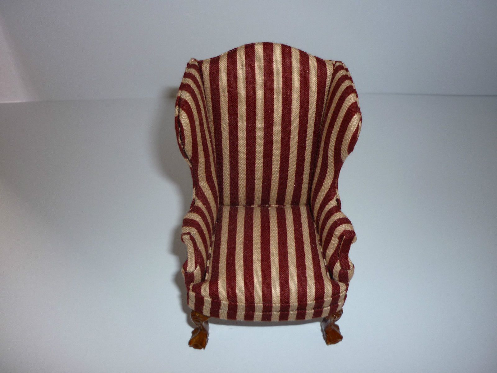 JIA YI DOLLS HOUSE RED STRIPED WINGED CHAIR 12TH SCALE NEW   EBay
