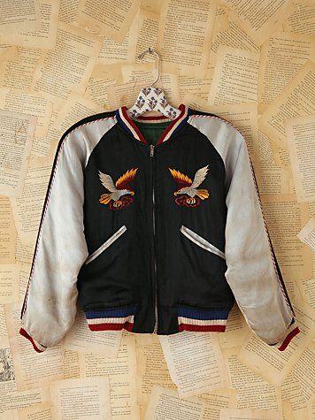 Free People Vintage Reversible Silk Embroidered Bomber Jacket $928