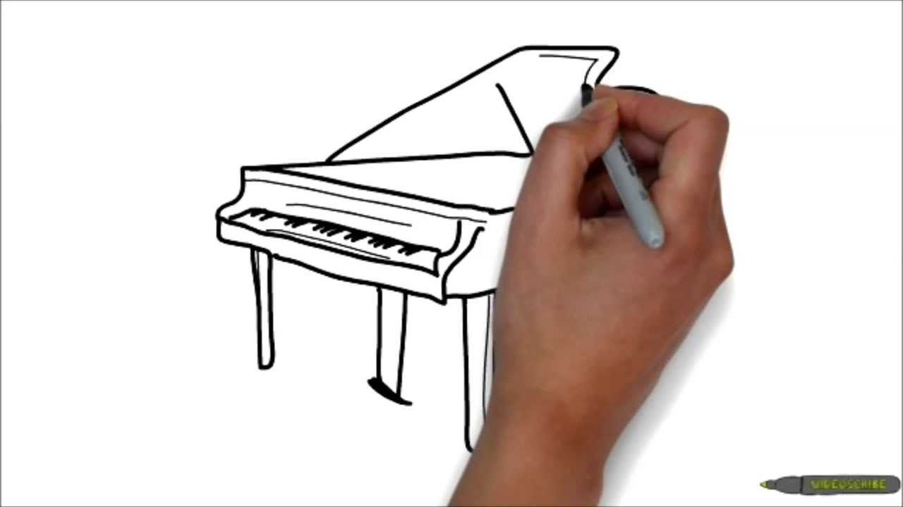 how to draw a piano step by step easy