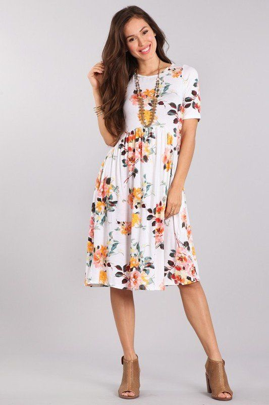 White floral dress outfit