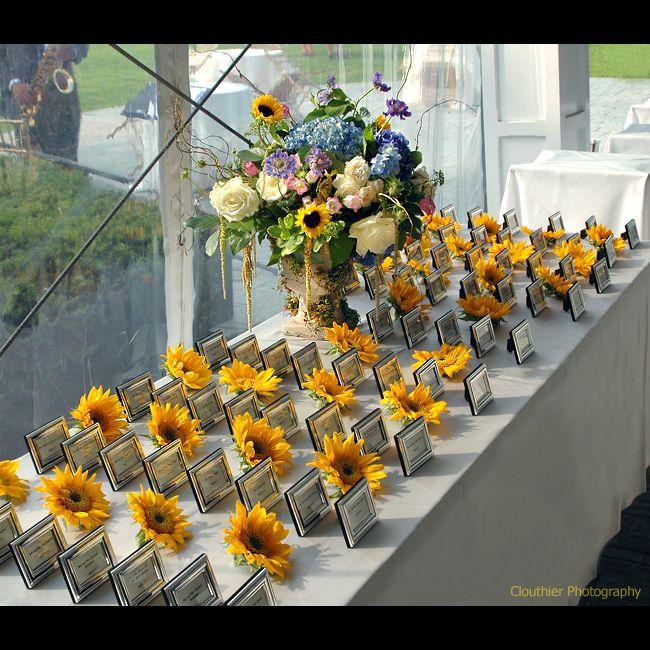 modern sunflower wedding theme wedding decor escort card table displays