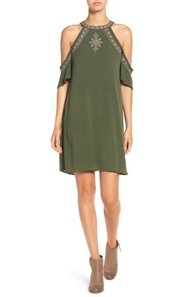 Love, Fire Embroidered Cold Shoulder Shift Dress available at #Nordstrom