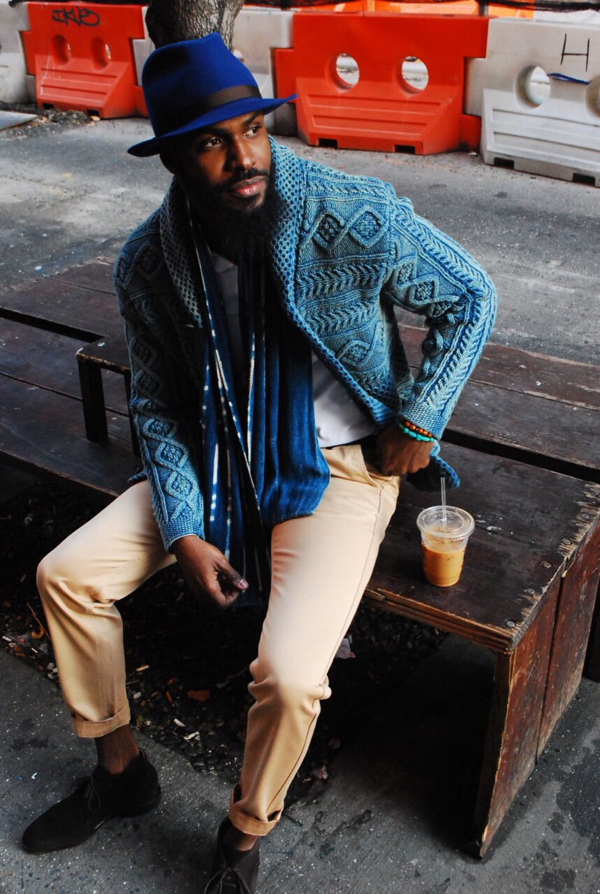 Knitted men's cardigan jacket
