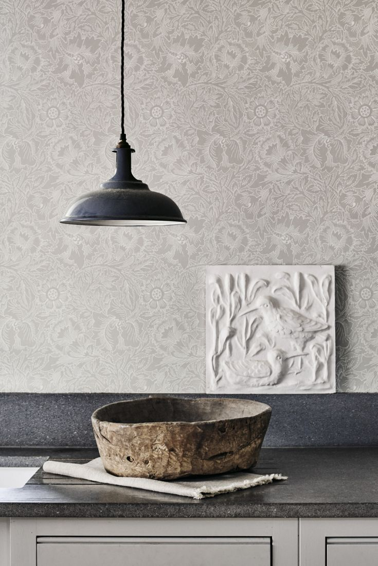 Designed in 1881, this popular Morris floral wallpaper design has an ... for Farmhouse Wallpaper Designs  157uhy