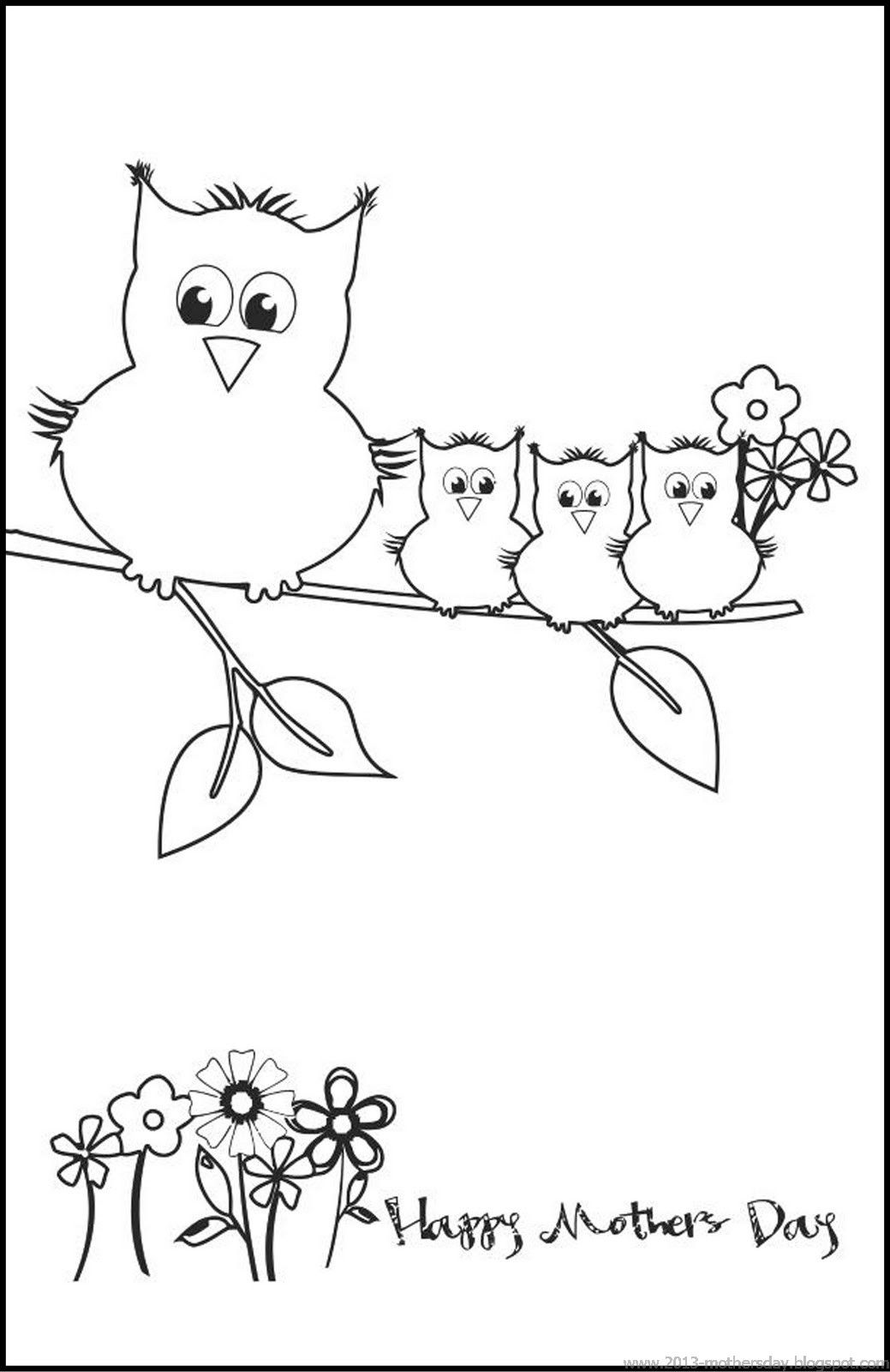 printable mothers day card.....love this | Owls | Pinterest | Colorear