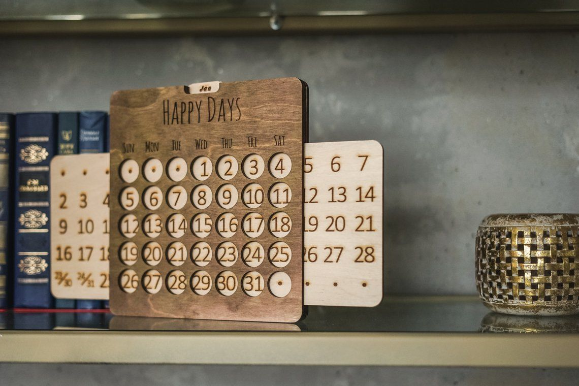 Wooden Wall Calendar Office Desk Accessories Forever Never Etsy