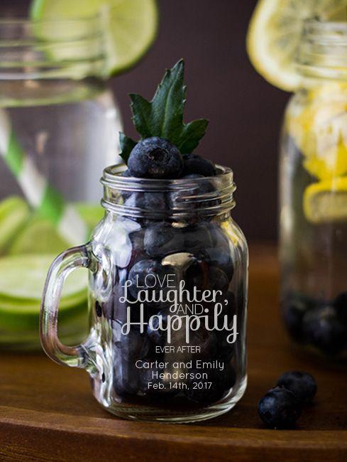 Favor: Engraved Mini Mason Jar Mug 4 oz wedding favors | Wedding ...