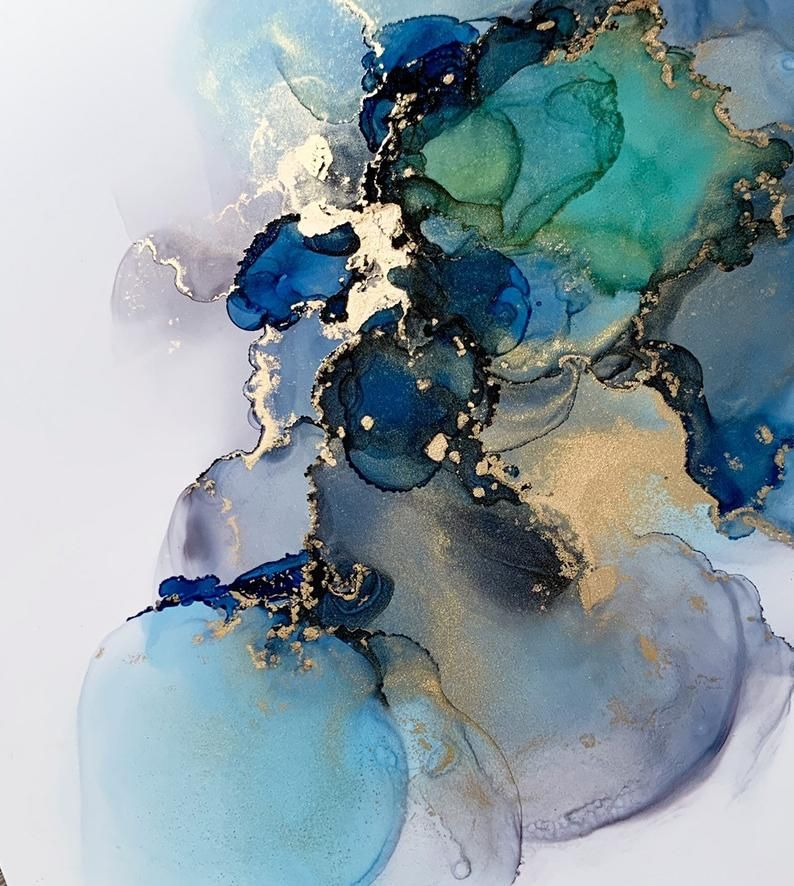 Abstract Fluidart paper Copic alcohol ink Yupo 30 x 30 cm grey green blue gold powder / Abstract alcohol ink blue gray gold fluidart