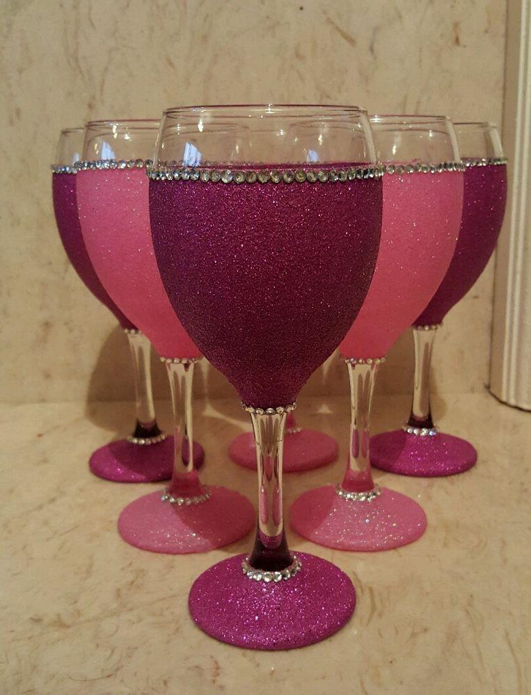 6 Pink Glitter Wine Glasses Glitter Wine Glasses Diy Diy Wine Glasses Decorated Wine Glasses