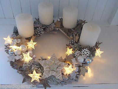 Schön Adventkranz Sterne Lichterkette Kranz Weihnachten Shabby Kugeln Kerzen |  EBay