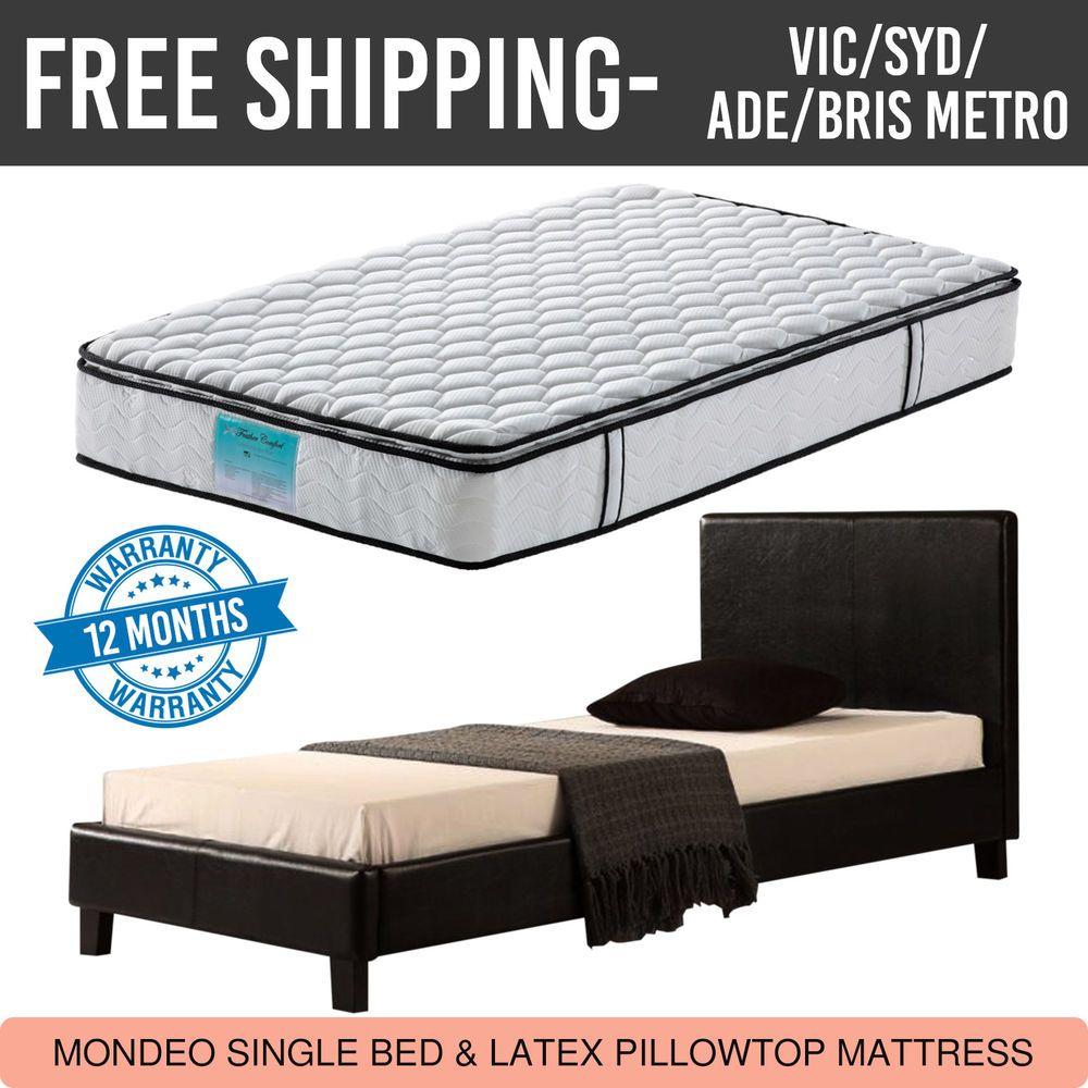 Mondeo Bed Frame & Latex Pillow Top Mattress Combo Single Black Free Del Metro #pillowtopmattress