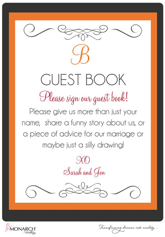 pretty orange, gray and red wedding at admiral kidd club guest book ...