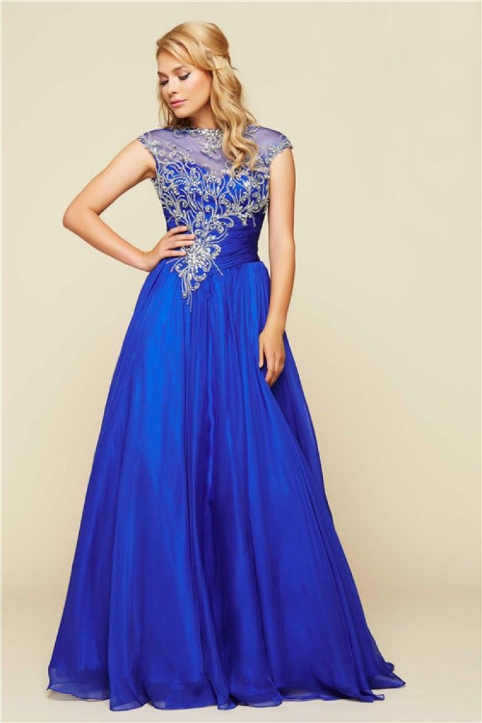 flowing strapless open back long royal blue chiffon applique prom