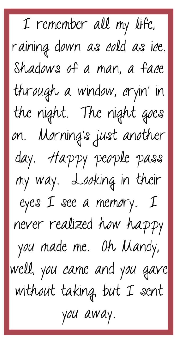 Barry Manilow Mandy Song Lyircs Music Quotes Song Lyrics I