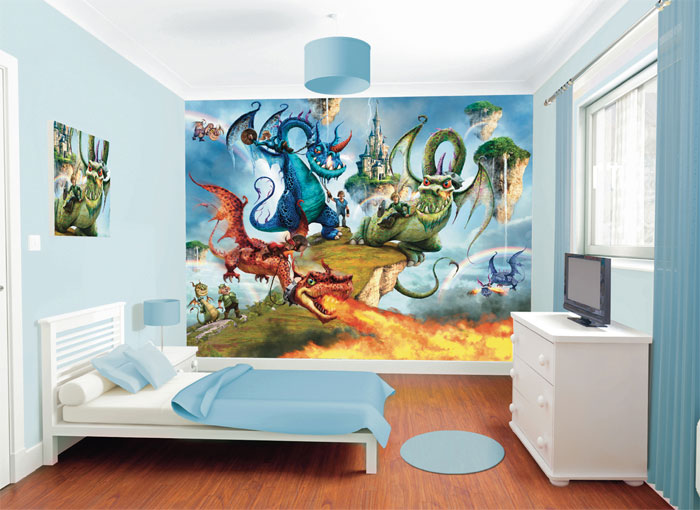 Land Of Knights And Dragons Mural For A Child S Bedroom Kids