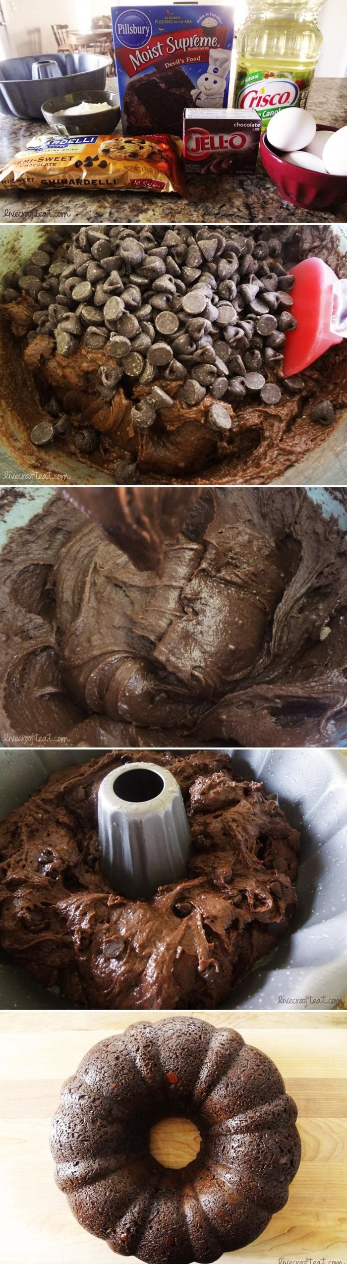 "Chocolate Bundt cake - This is my husband's absolute favorite because it is just ""chocolate bread"" with no icing! You can also vary a little less chocolatey with yellow cake mix. . . still a chocolate delight!"