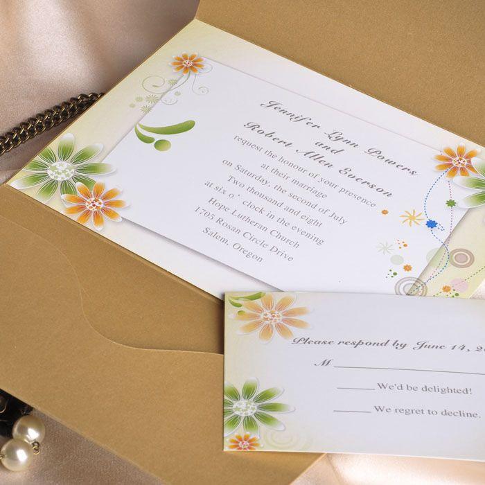 Green And Orange Sunflower Fall Pocket Wedding Invitation Kits EWPI023