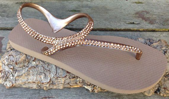 a9fe9aab0d243 Rose Gold Havaianas Flip Flops Crystal Metallic Gladiator Flash ...