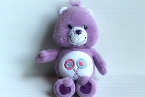 8-CARE-BEAR-SHARE-BEAR-Plush-Stuffed-Animal-Purple-with-Lollipops-on-Stomach