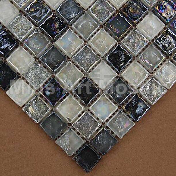 Iridescent black mix  glass mosaic tile for kitchen backsplash D1YD2006 - ICON2 Luxury Designer Fixures  Iridescent #black #mix # #glass #mosaic #tile #for #kitchen #backsplash #D1YD2006