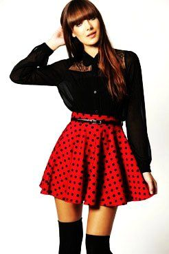 Red and Black High Waist Polka Dot Skirt - Cute Red and Black High ...