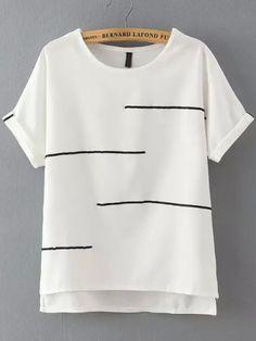White Short Sleeve Striped Dip Hem T-Shirt 12.83