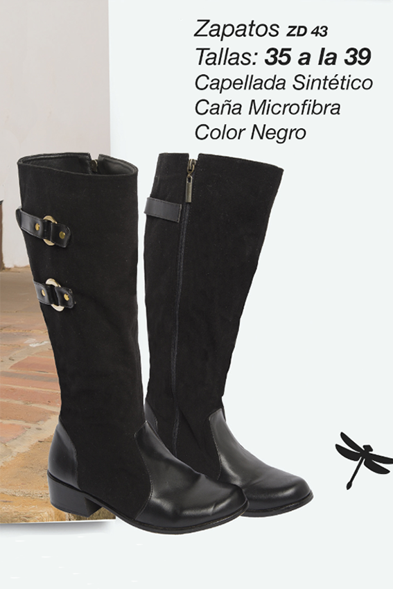 Botas con capellada sintética y caña en microfibra Referenia: ZD43 Tallas: 35 a la 39 Color: Negro Precio: $115.000
