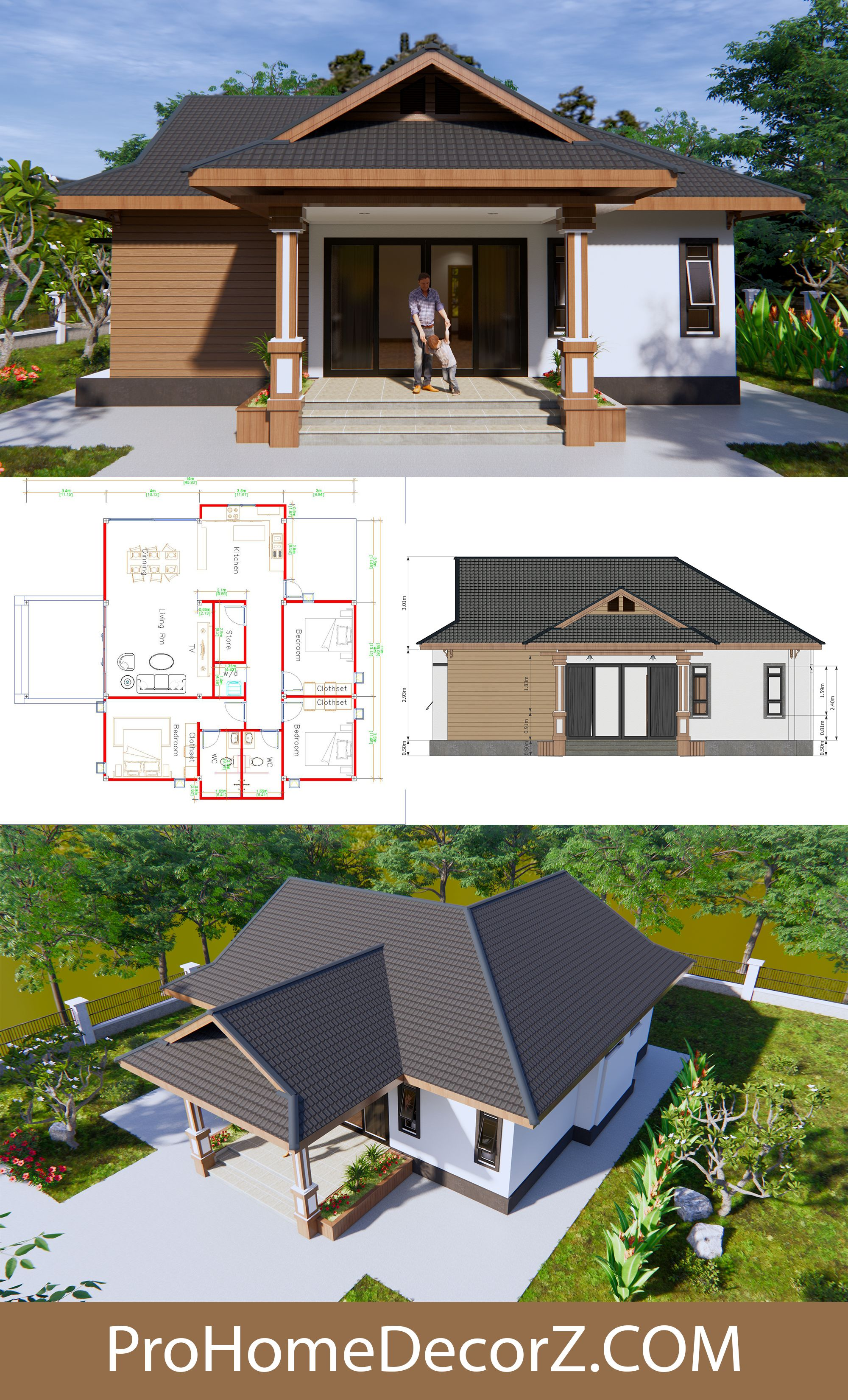 Cool Home Plans 11x14 Meters 36x46 Feet 3 Beds House Plans Bungalow Floor Plans Small House Design