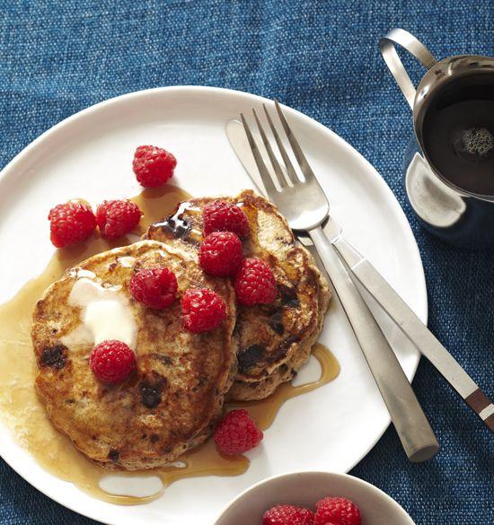 Banana Pancakes With Chocolate Bits And Raspberries Bhg Delish Dish Blog