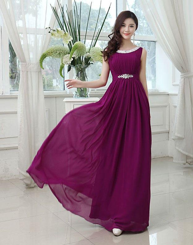 Most Popular Jewel Neck A-Line Long Bridesmaid Dress @ericdress ...